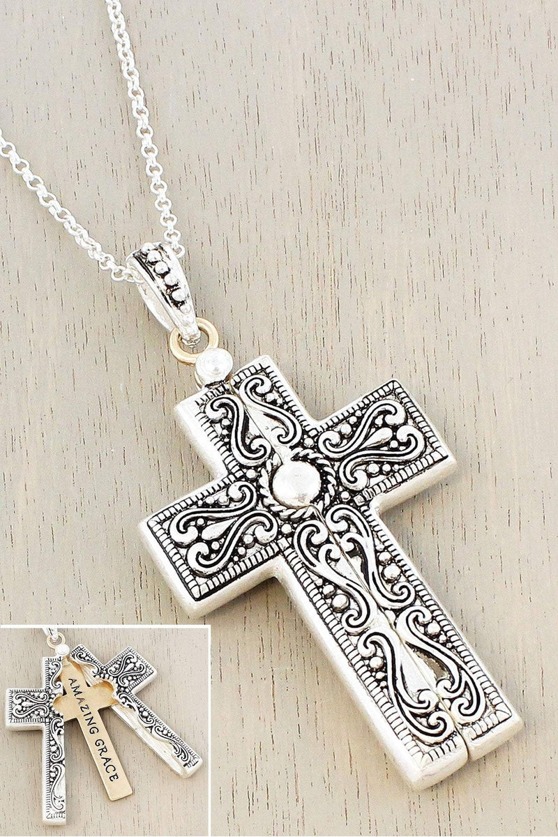 Worn Two-Tone 'Amazing Grace' Cross Message Locket Necklace