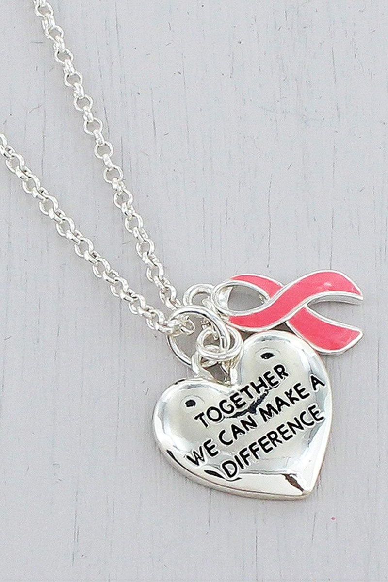 Silvertone 'Together' Heart and Pink Ribbon Pendant Necklace