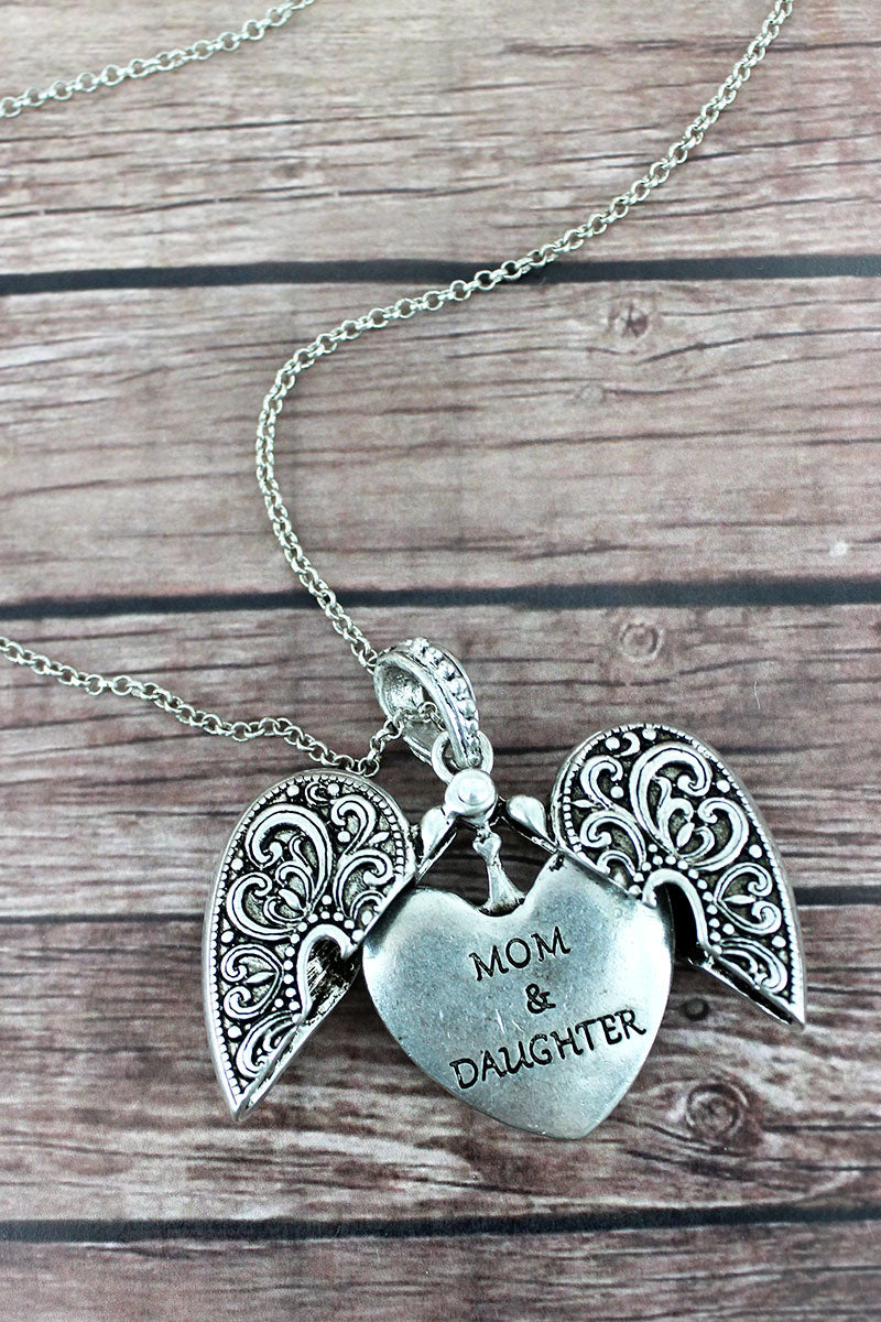 Worn Silvertone 'Mom & Daughter' Message Locket Necklace