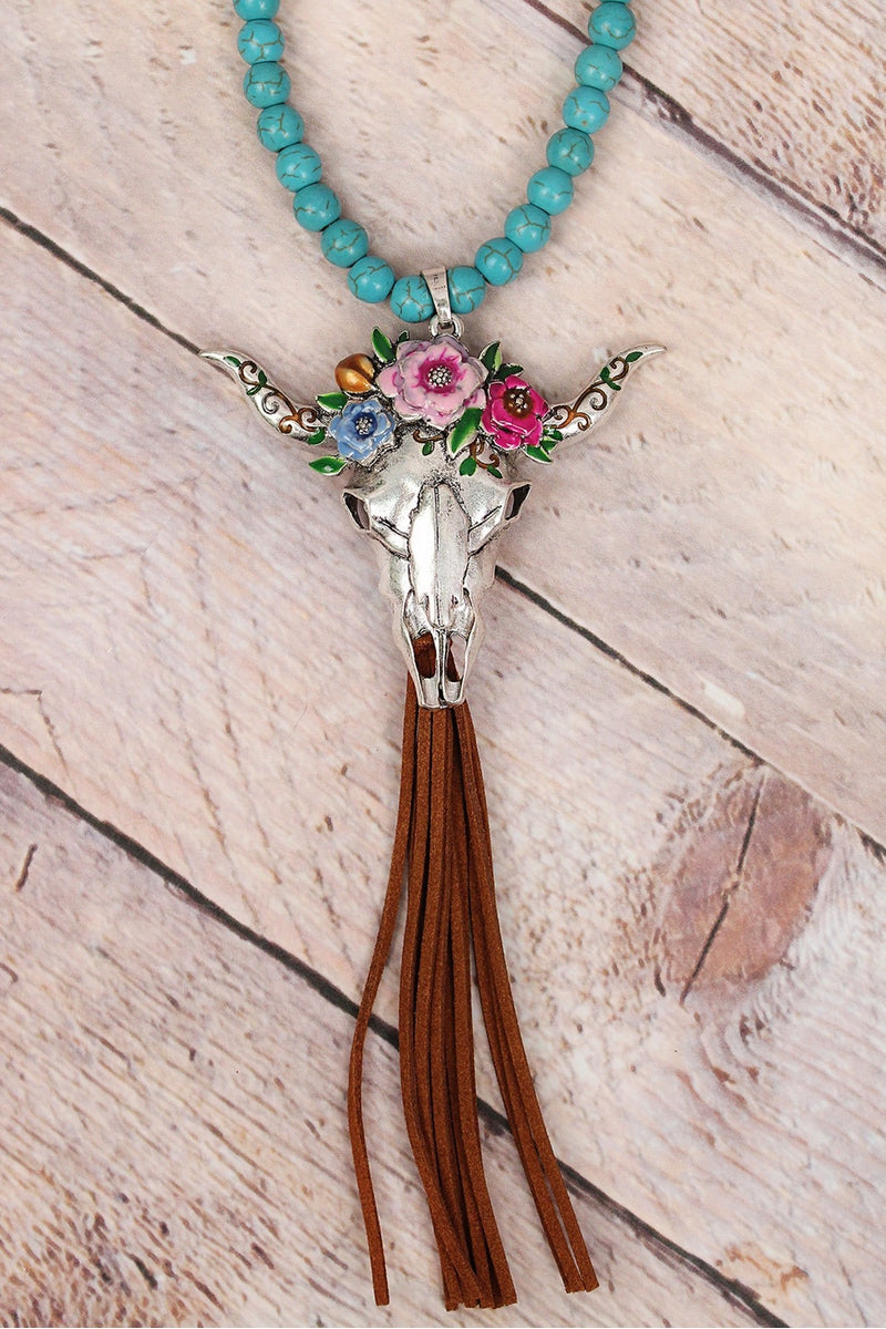 Floral Wreath Steer Head Tassel Turquoise Beaded Necklace