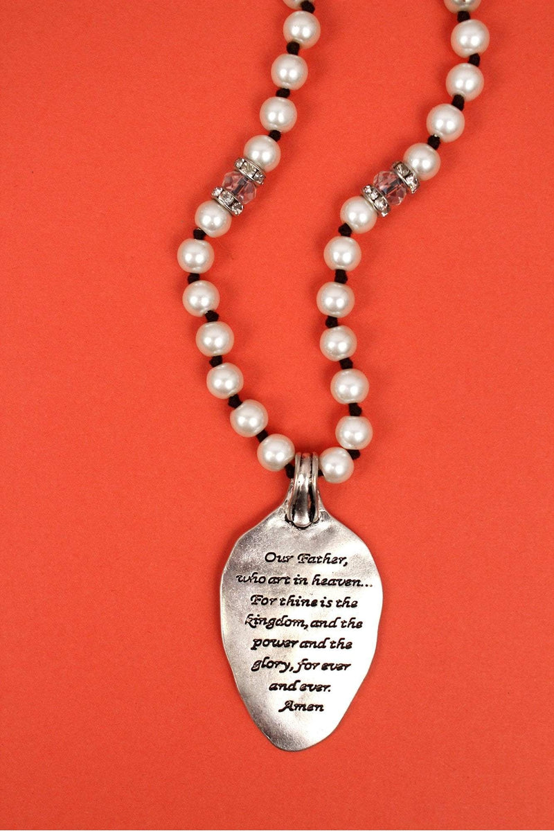 Worn Two-Tone 'Lord's Prayer' Spoon Pendant Pearl Necklace
