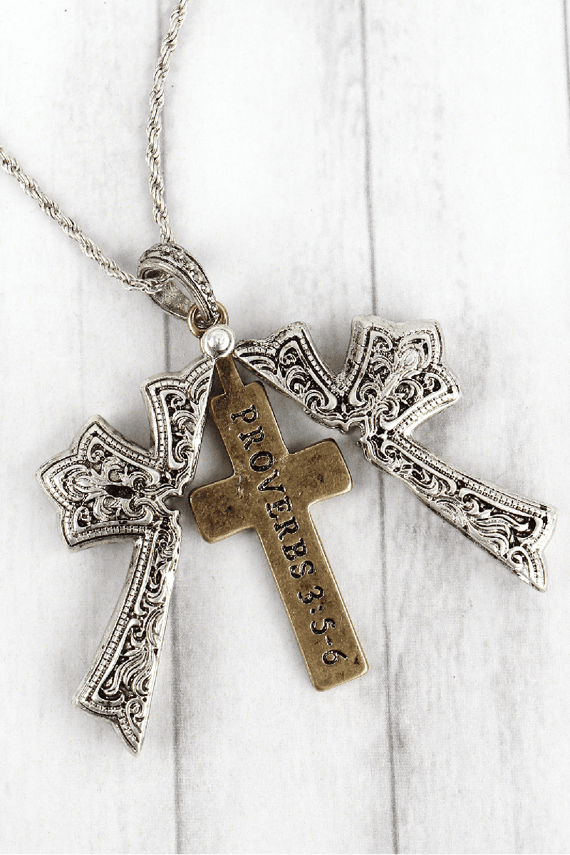 Worn Two-Tone 'Proverbs 3:5-6' Cross Message Locket Necklace