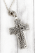 Worn Silvertone 'Matthew 28:19' Cross Message Locket Necklace