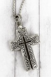 Worn Two-Tone 'Matthew 28:19' Cross Message Locket Necklace