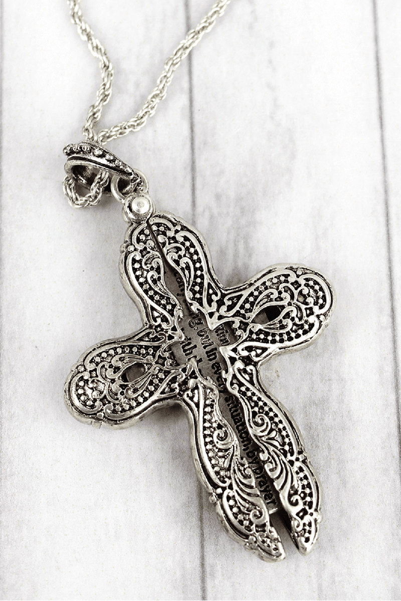Worn Silvertone 'Philippians 4:6' Cross Message Locket Necklace