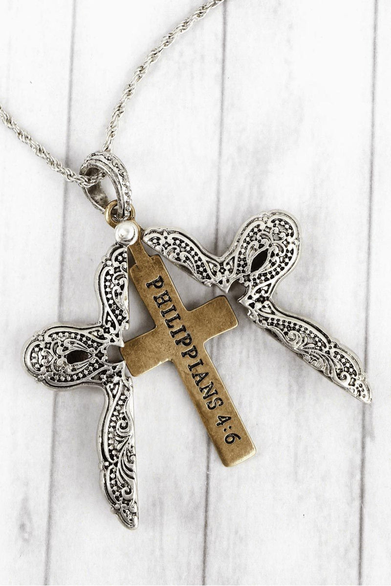 Worn Two-Tone 'Philippians 4:6' Cross Message Locket Necklace