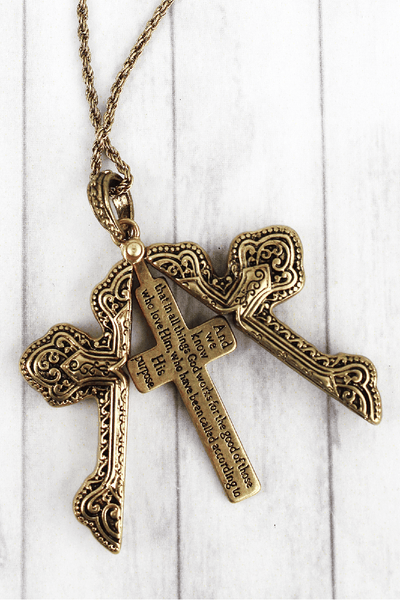 Worn Goldtone 'Romans 8:28' Cross Message Locket Necklace