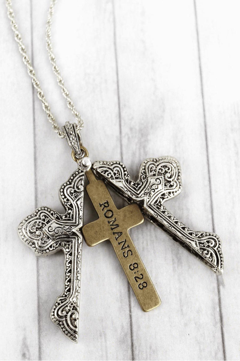 Worn Two-Tone 'Romans 8:28' Cross Message Locket Necklace