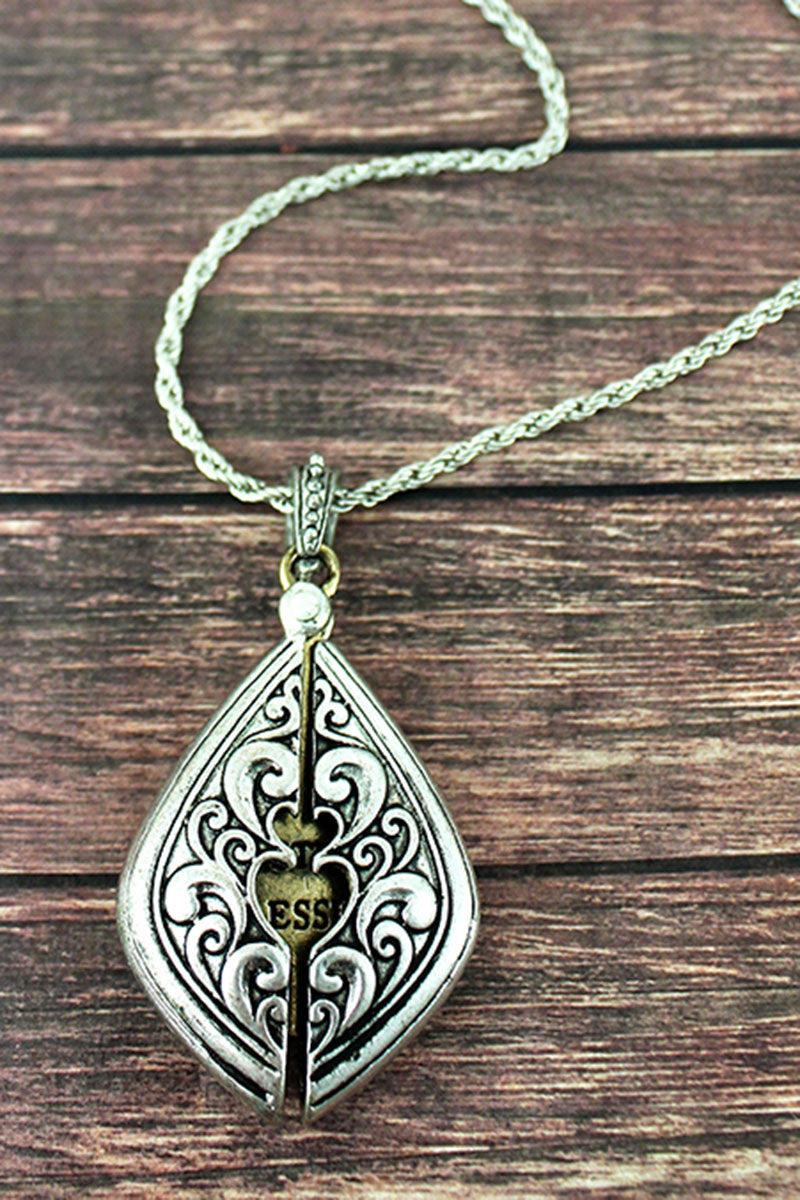 Worn Two-Tone 'Sister's Blessing' Message Locket Necklace