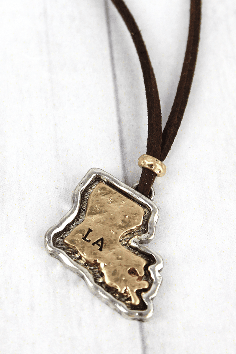 Hammered Two-Tone Louisiana Pendant Brown Cord Necklace