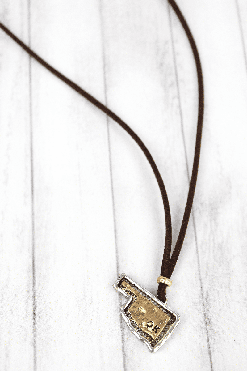 Hammered Two-Tone Oklahoma Pendant Brown Cord Necklace