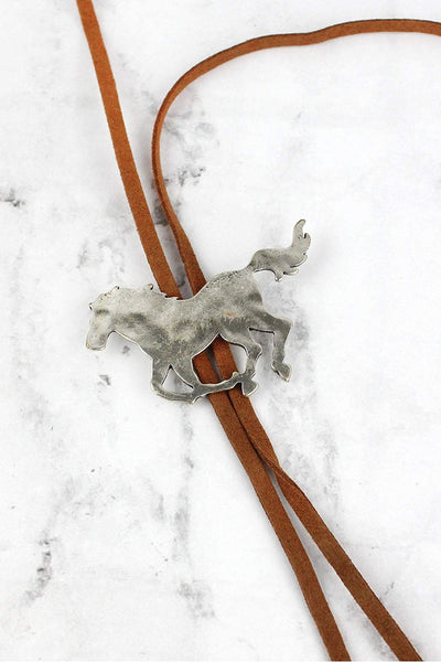 Burnished Silvertone Horse Faux Leather Bolo Tie Necklace