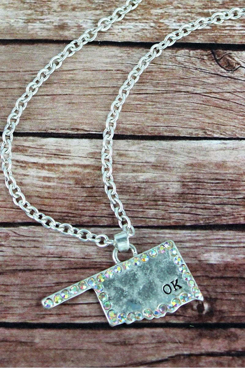 Iridescent Crystal Trimmed Worn Silvertone Oklahoma Necklace