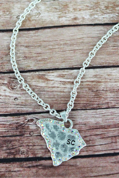 Iridescent Crystal Trimmed Worn Silvertone South Carolina Necklace