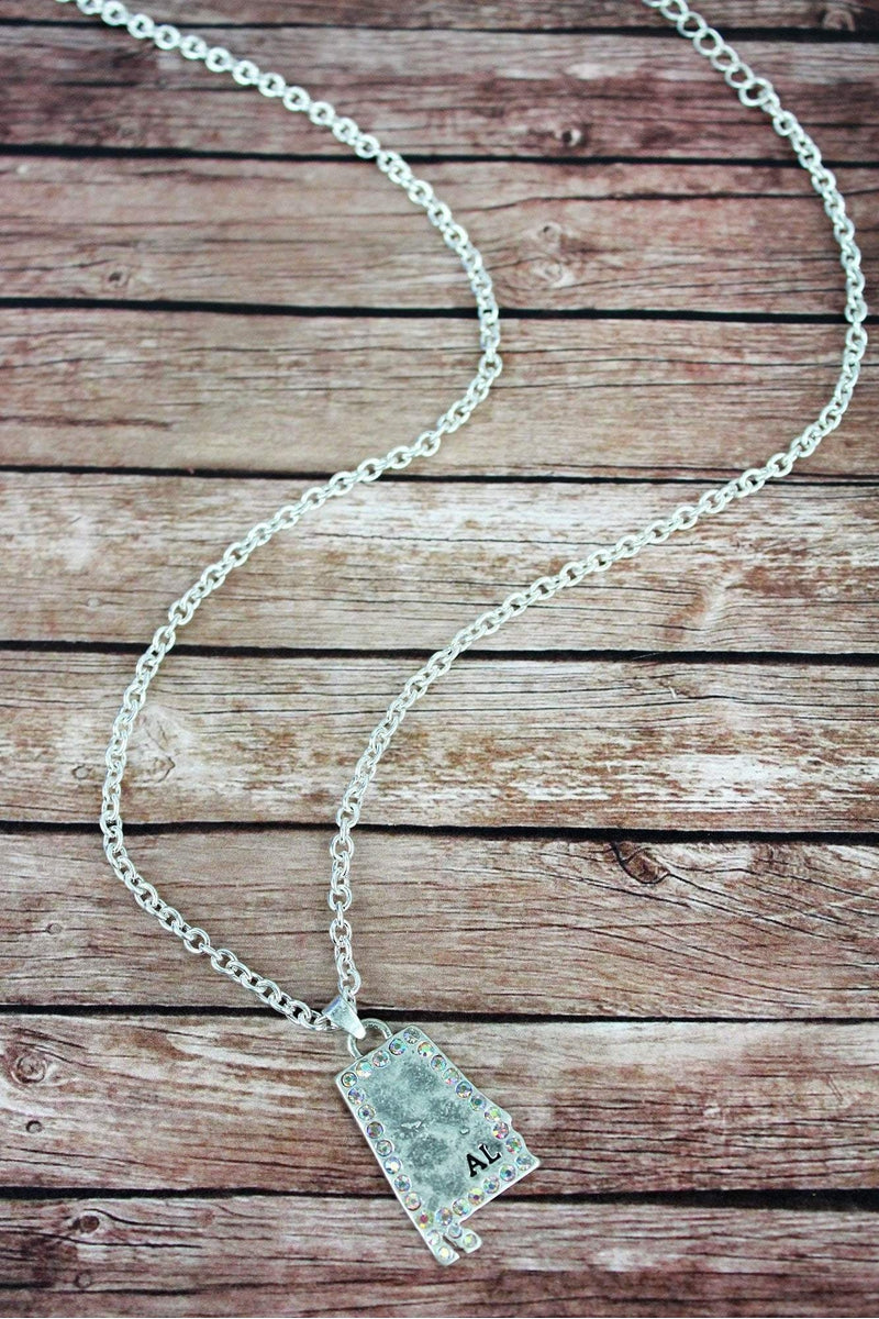 Iridescent Crystal Trimmed Worn Silvertone Alabama Necklace