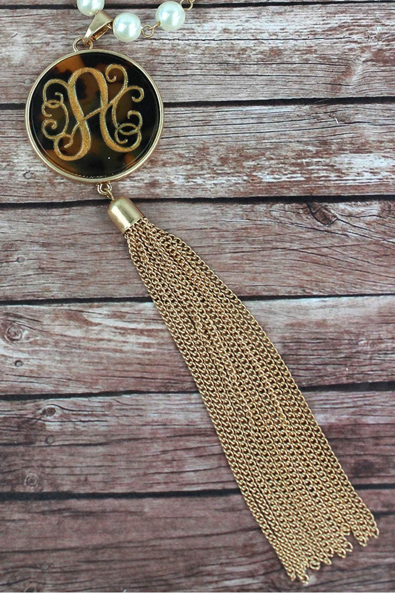 Goldtone and Tortoiseshell 'A' Initial Tassel Pendant Necklace