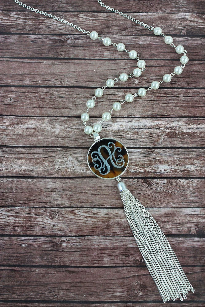 Silvertone and Tortoiseshell 'A' Initial Tassel Pendant Necklace
