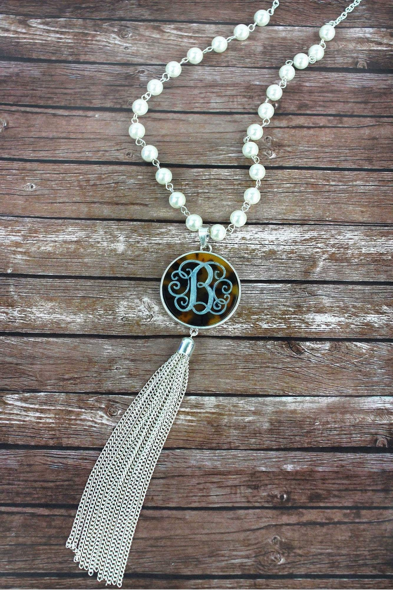 Silvertone and Tortoiseshell 'B' Initial Tassel Pendant Necklace