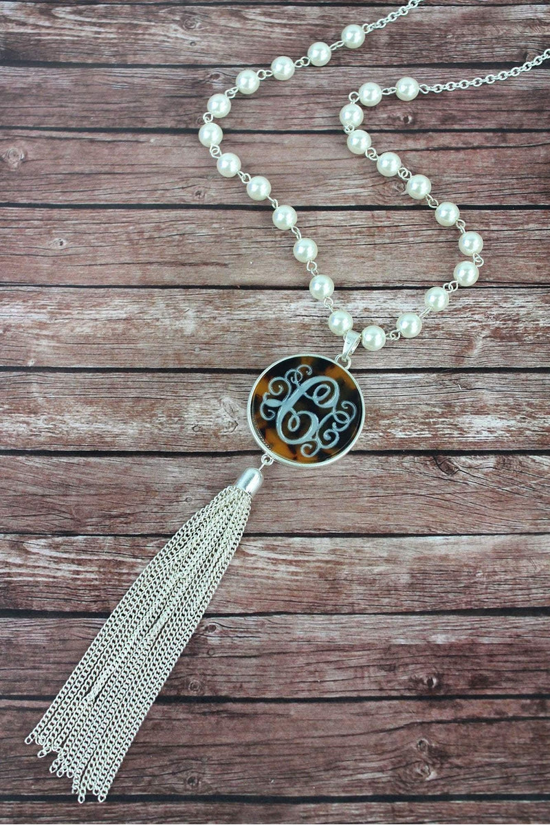 Silvertone and Tortoiseshell 'C' Initial Tassel Pendant Necklace