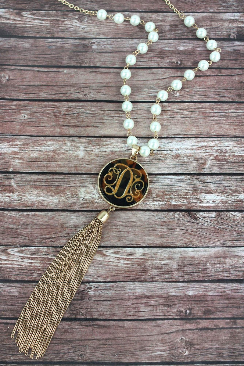 Goldtone and Tortoiseshell 'D' Initial Tassel Pendant Necklace