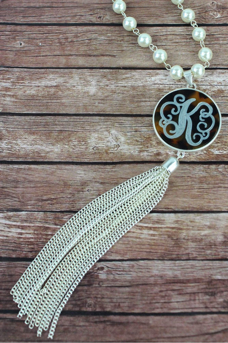 Silvertone and Tortoiseshell 'K' Initial Tassel Pendant Necklace