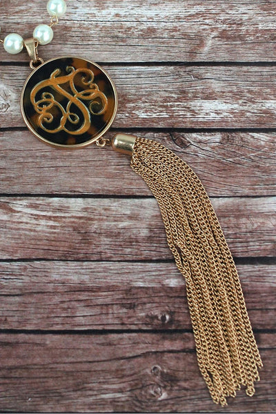 Goldtone and Tortoiseshell 'T' Initial Tassel Pendant Necklace