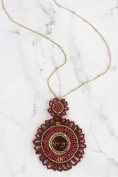Burgundy Seed Bead Disk Pendant Goldtone Necklace