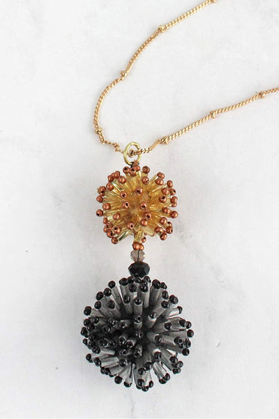 Brown and Jet Seed Bead Cluster Ball Pendant Necklace