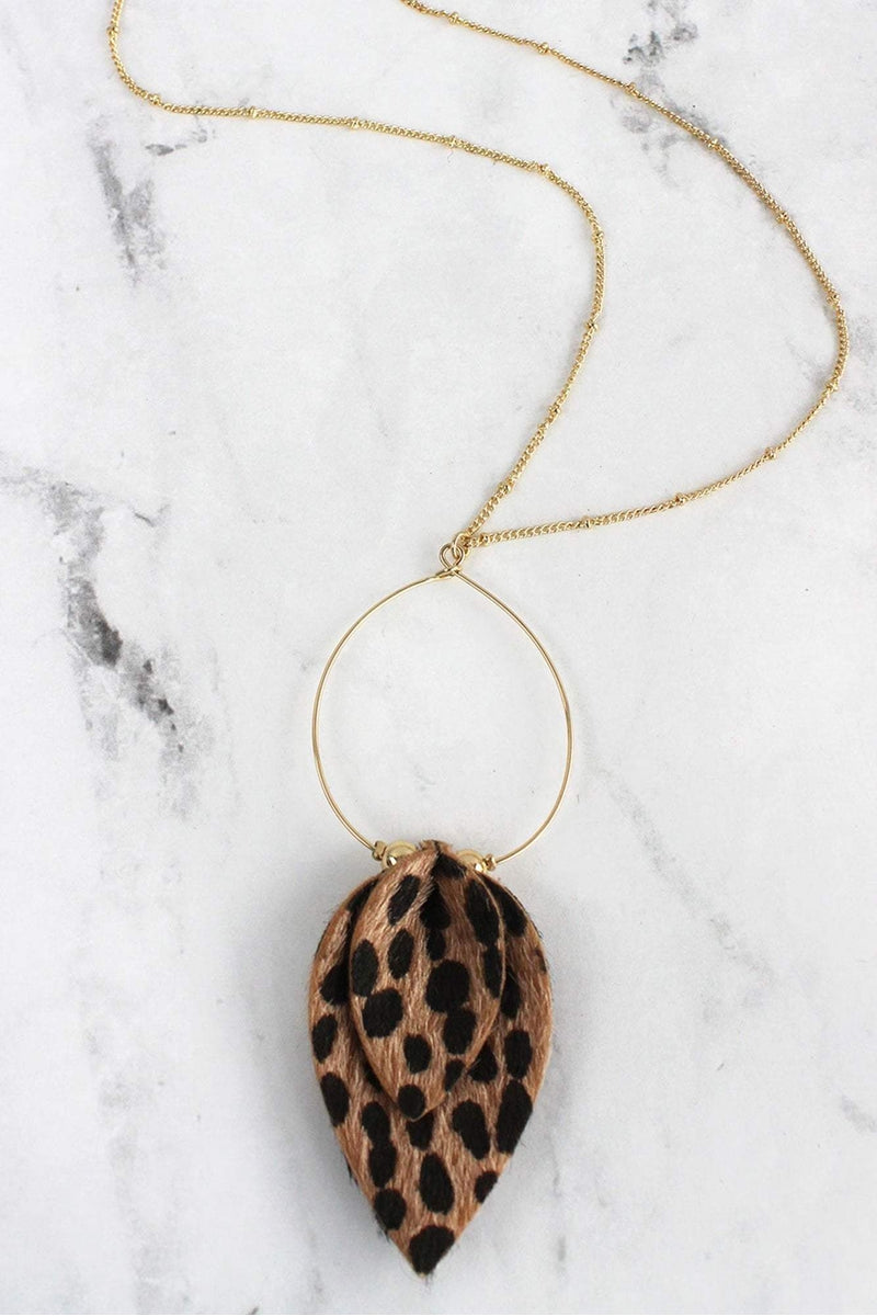 Goldtone and Cheetah Layered Petal Pendant Necklace