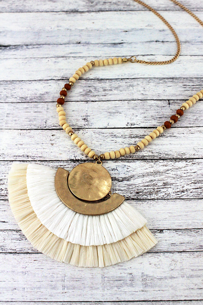 Ivory Two-Color Raffia Fan Pendant Beaded Necklace