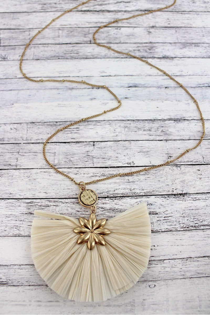 Worn Goldtone Flower and Ivory Raffia Fan Pendant Necklace