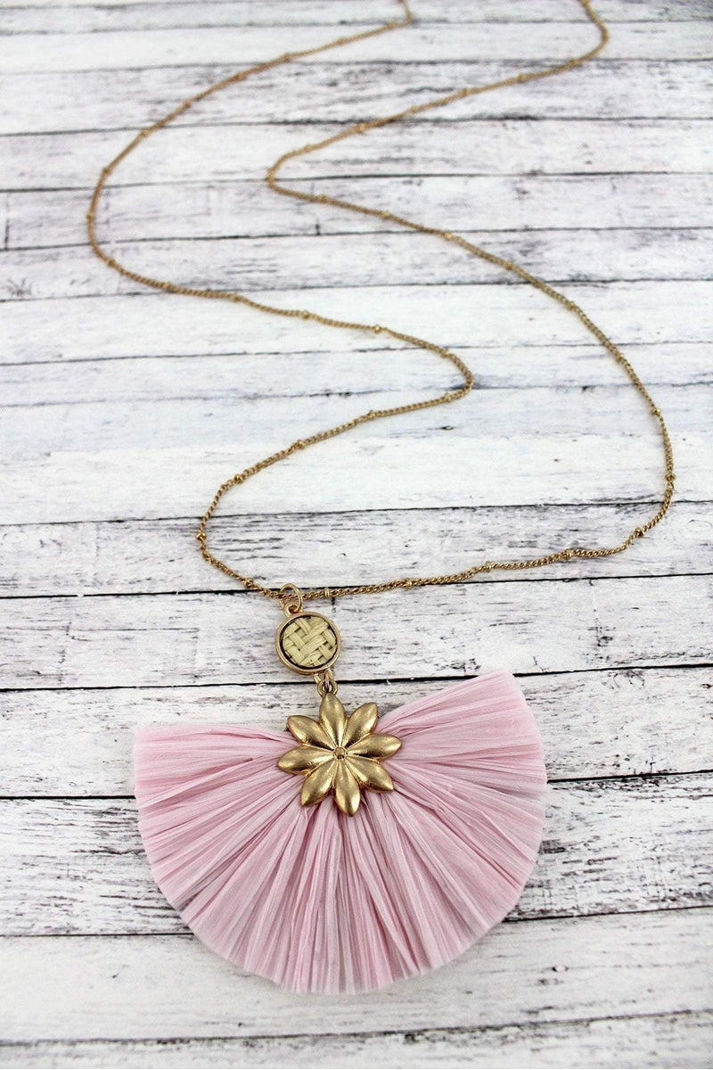 Worn Goldtone Flower and Light Pink Raffia Fan Pendant Necklace
