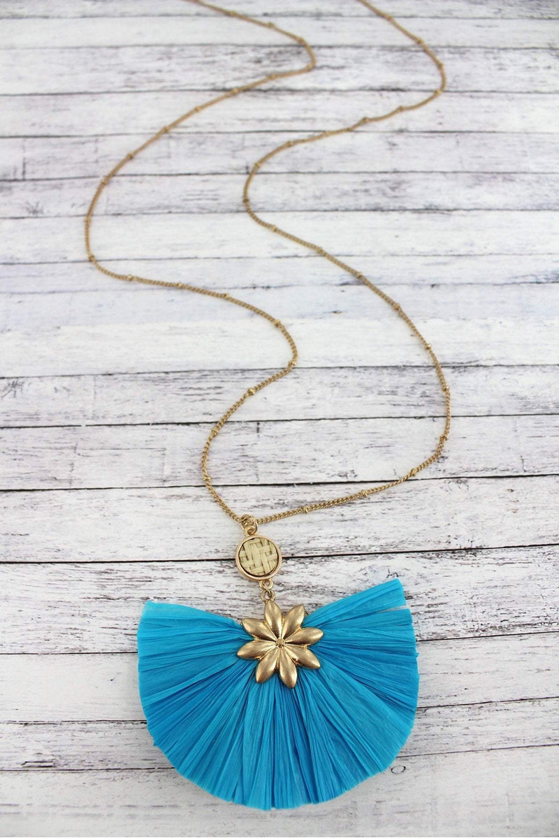 Worn Goldtone Flower and Turquoise Raffia Fan Pendant Necklace