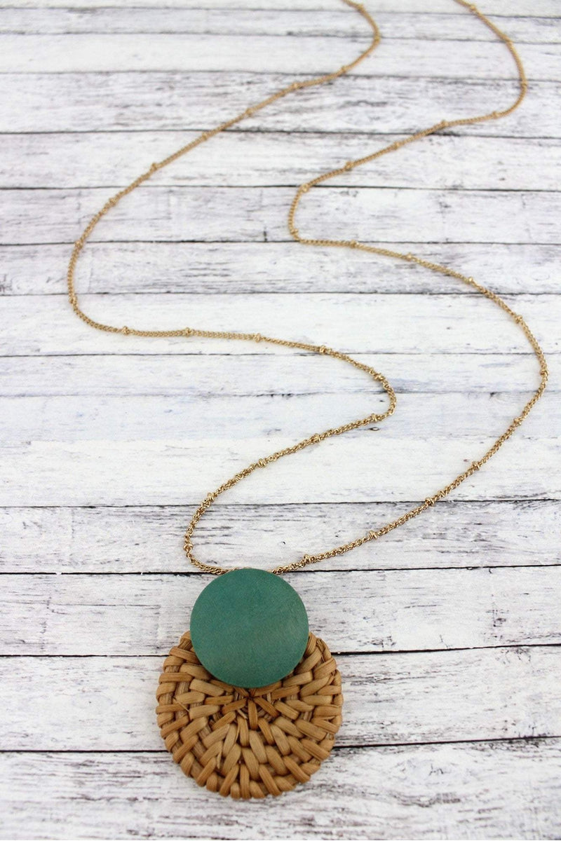 Turquoise Wood and Rattan Layered Disk Pendant Necklace