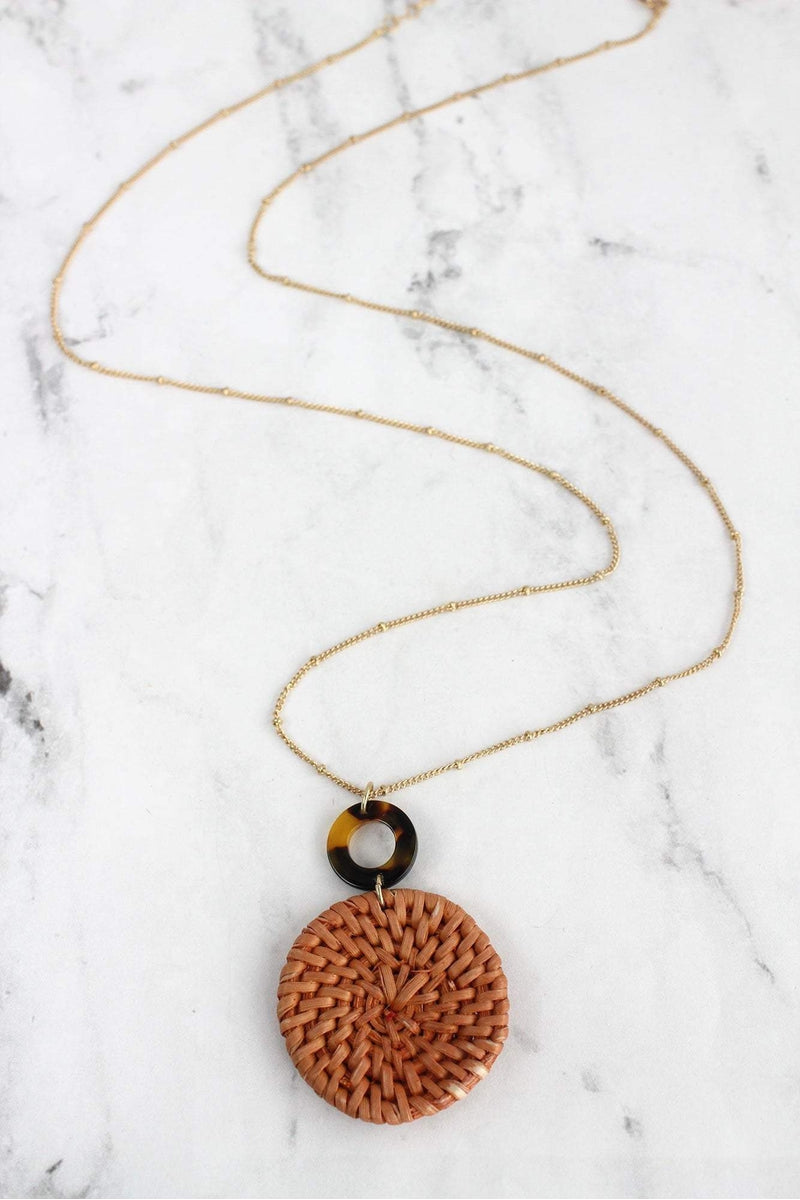 Brown Tortoiseshell and Rattan Disk Pendant Necklace