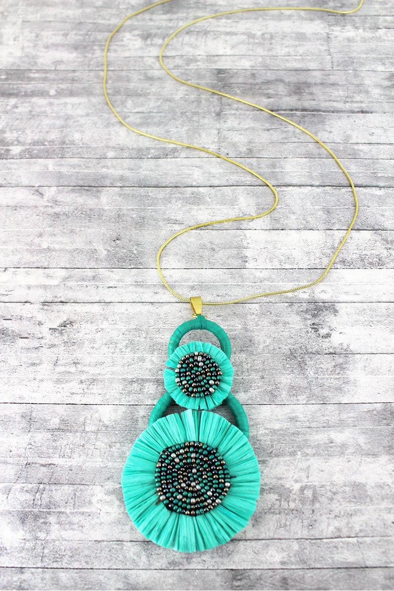Mint Seed Beaded Raffia Pendant Necklace
