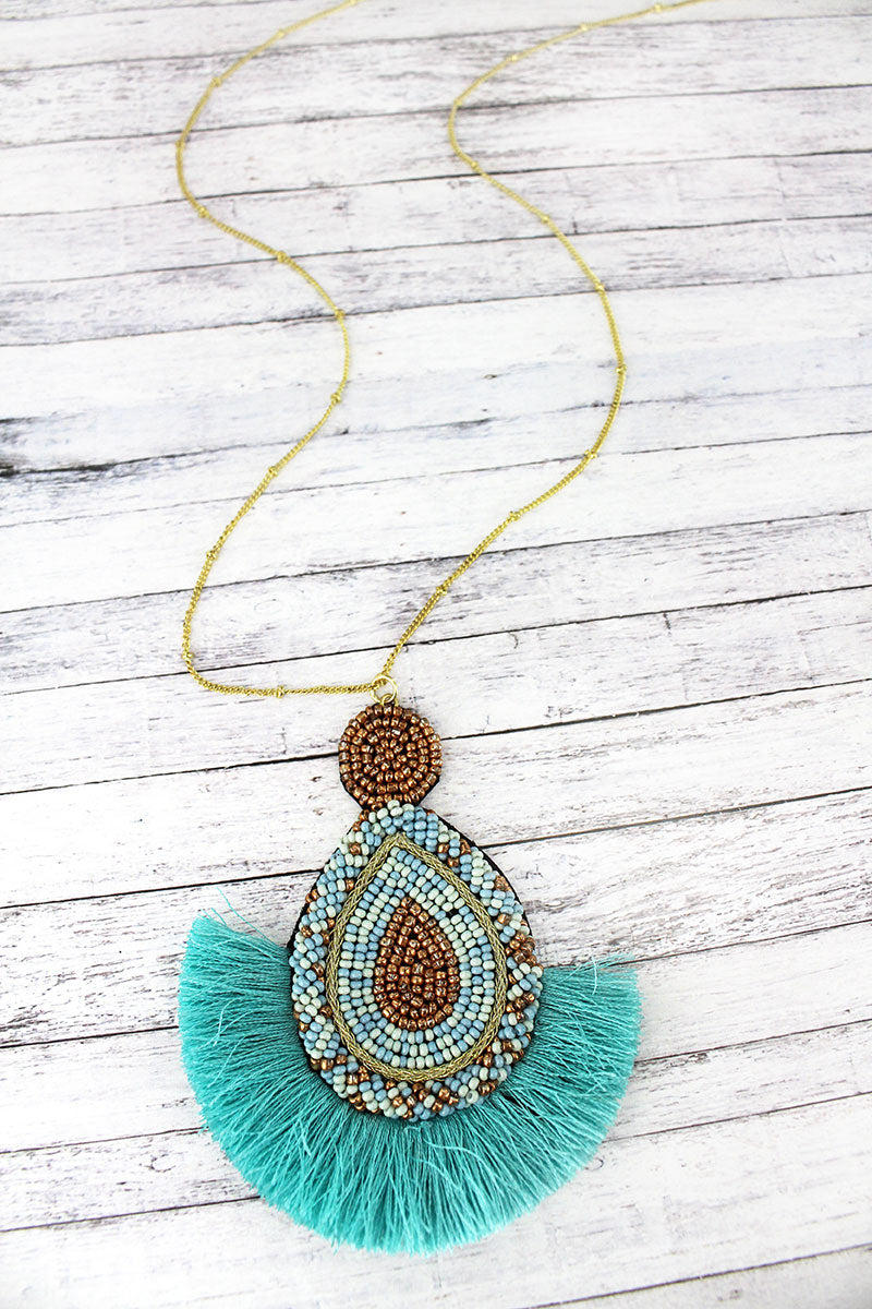 Mint Seed Bead Fan Pendant Necklace
