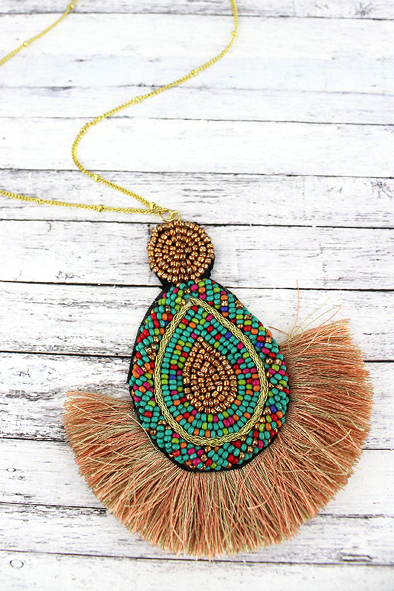 Multi-Color Seed Bead Fan Pendant Necklace