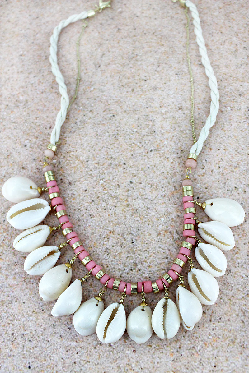 Goldtone and Pink Bead Cowrie Shell Charm Cord Necklace
