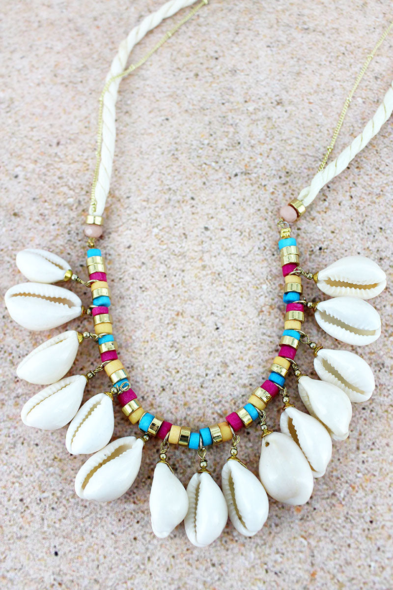 Goldtone and Multi-Color Bead Cowrie Shell Charm Cord Necklace