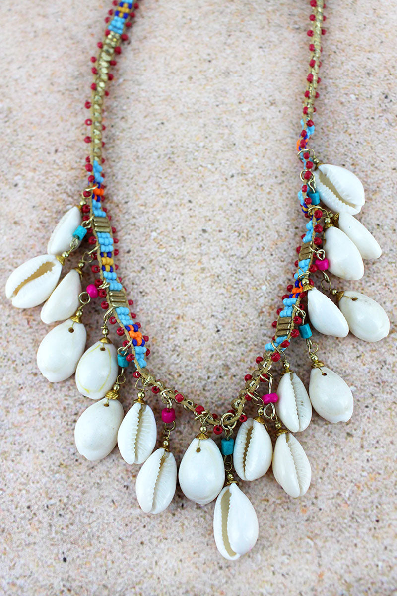 Goldtone and Multi-Color Seed Bead Cowrie Shell Charm Necklace