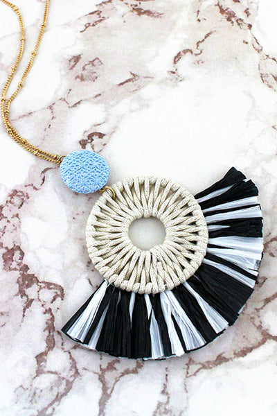 Black and White Raffia Circle Fan Pendant Necklace