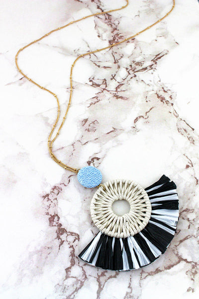 SALE! Black and White Raffia Circle Fan Pendant Necklace