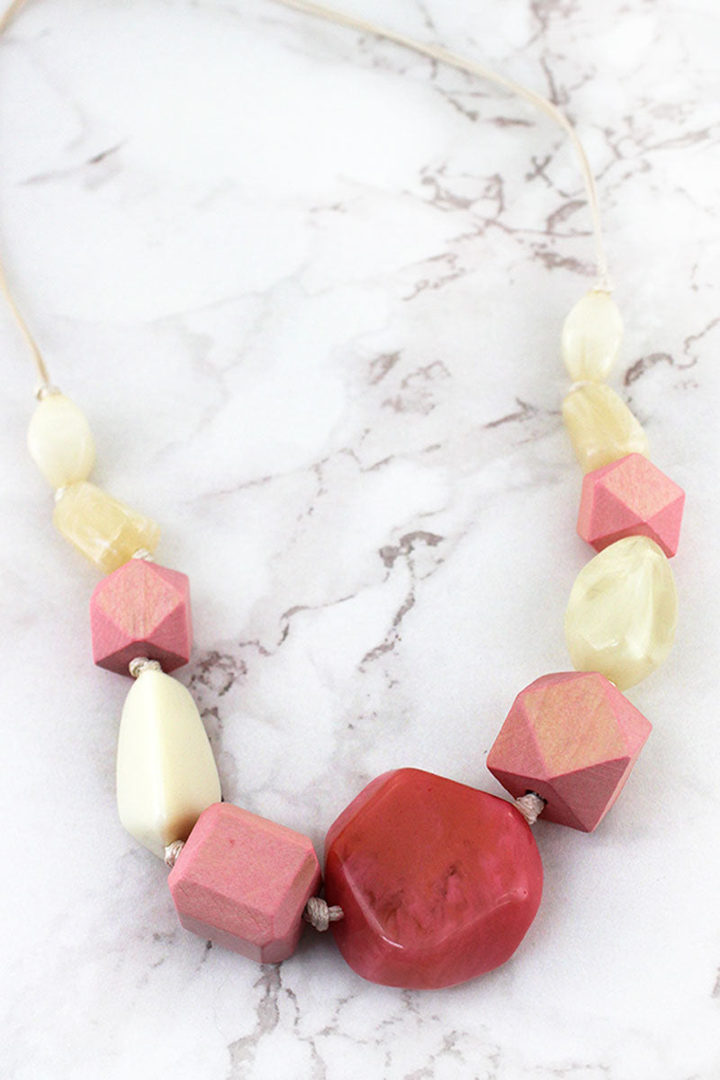 Pink Wood and Cream Bead Adjustable Cord Necklace