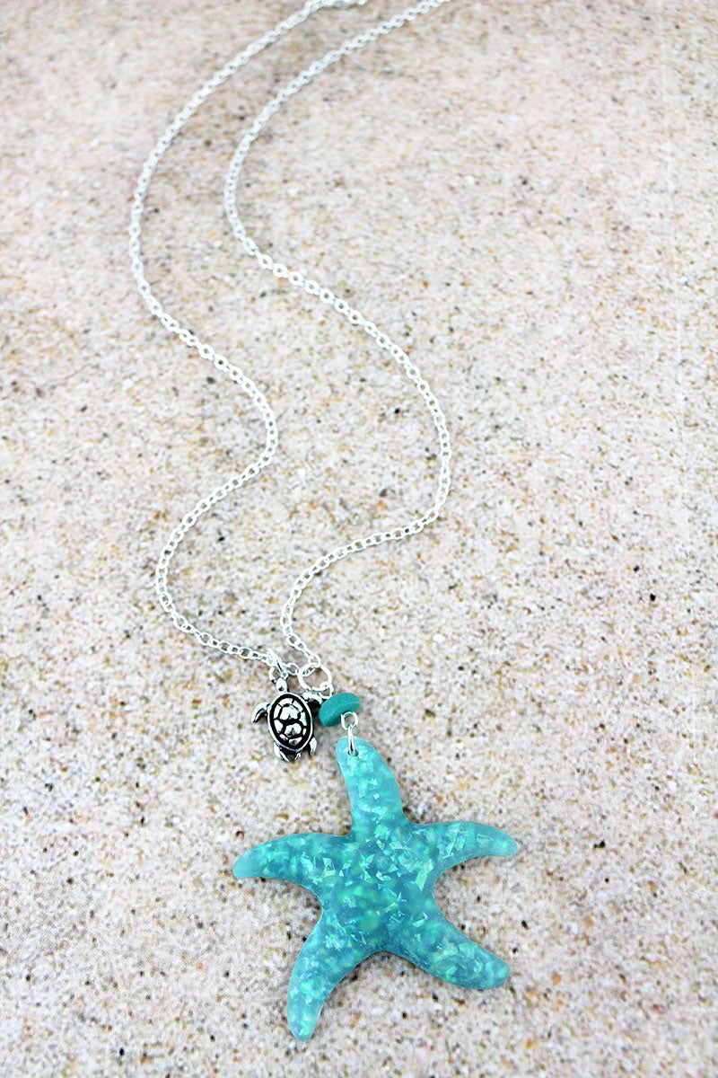 Turquoise Opal Starfish Pendant Silvertone Necklace