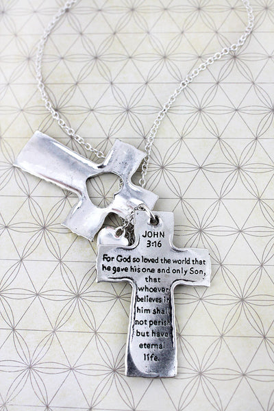 Silvertone 'John 3:16' Cross and Heart Layered Pendant Necklace
