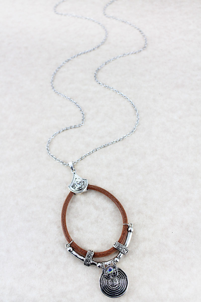 Faux Leather and Silvertone Disk Teardrop Necklace