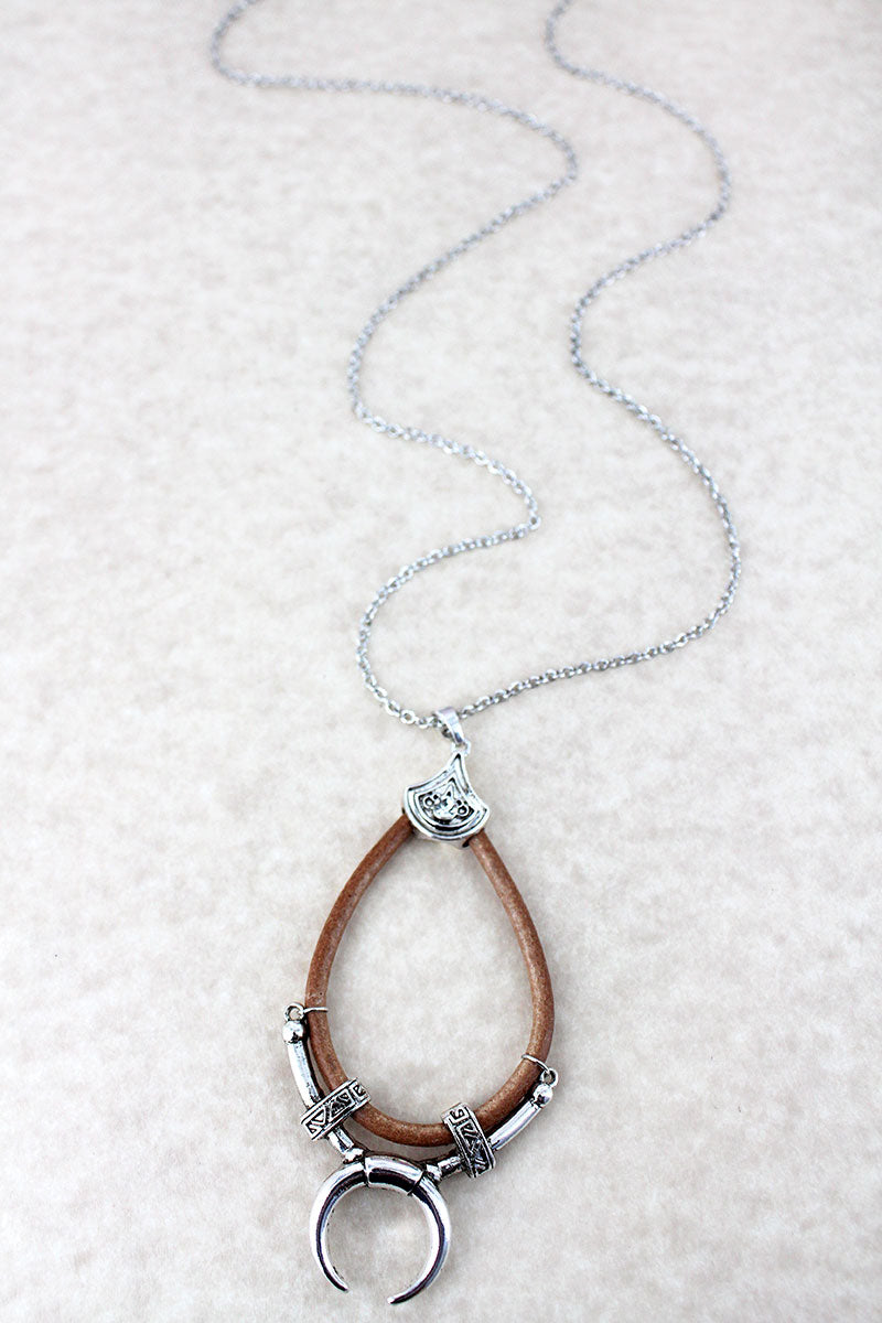 Faux Leather and Silvertone Double Horn Teardrop Necklace