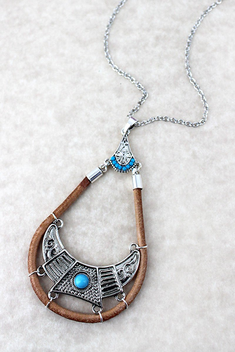 Turquoise Beaded Silvertone and Faux Leather Boho Teardrop Necklace
