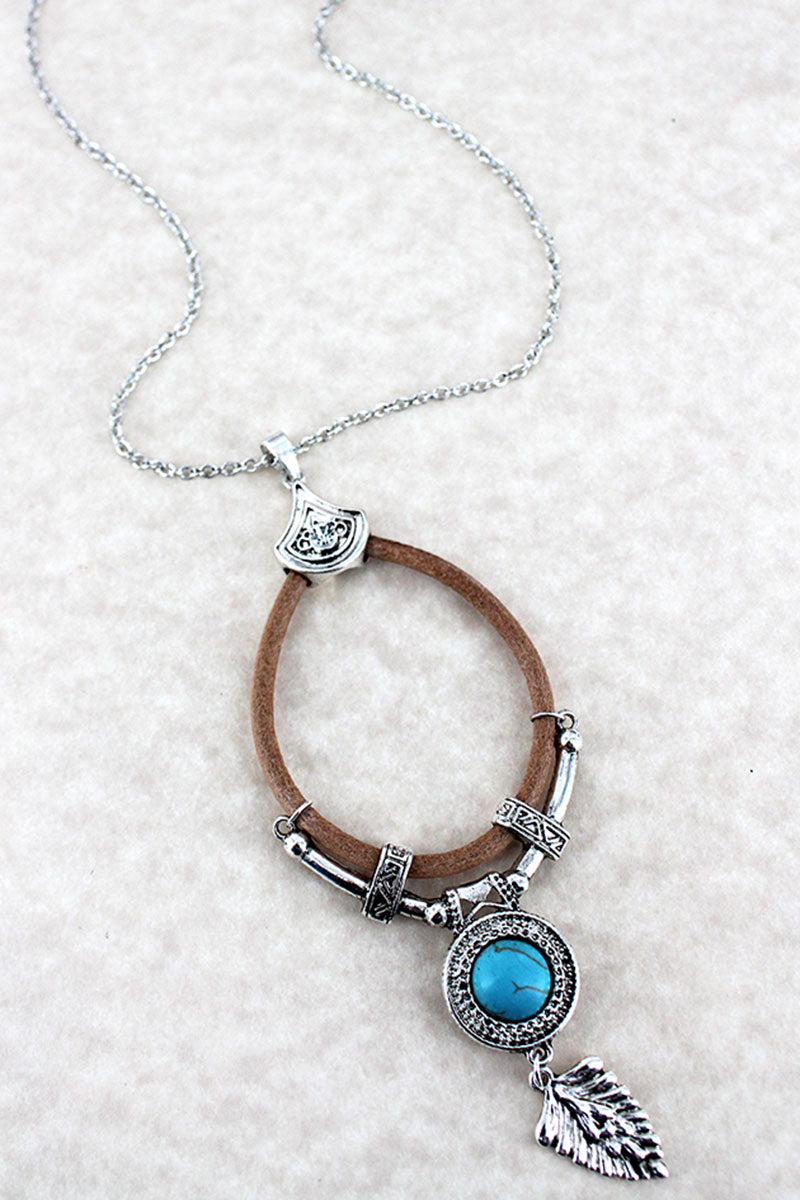 Silvertone, Turquoise, and Faux Leather Boho Charm Teardrop Necklace